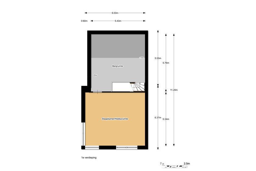 Plattegrond 1e etage hoekwoning De Cypressenhof