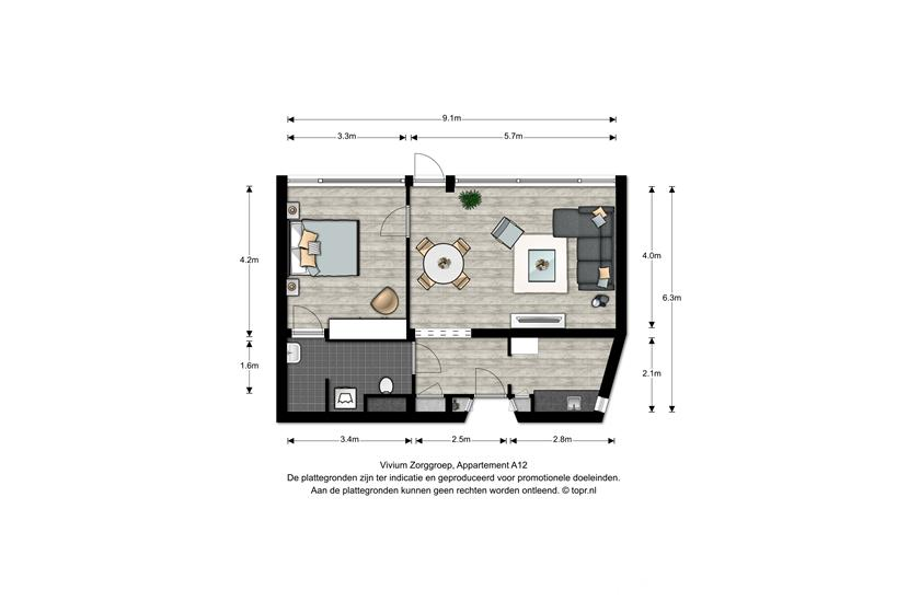 Vivium De Gooise Warande - 2 kamer appartement 55-56m² (A12)