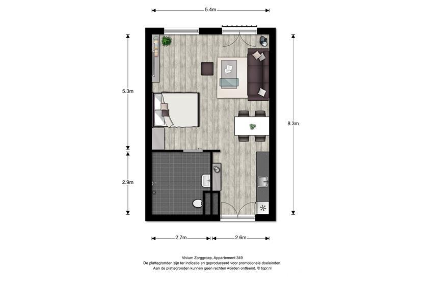Vivium Oversingel - ruim 1 kamer appartement 39-47m² (349)