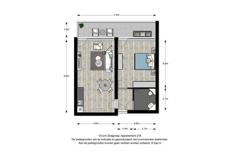 Vivium Johanneshove - 2 kamer appartement 40-49m² met balkon (218)