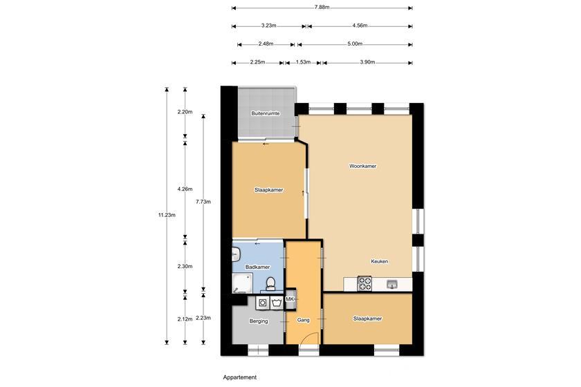 Plattegrond appartement WZC