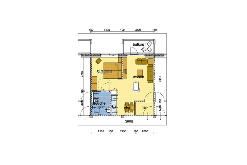 Plattegrond appartement B46